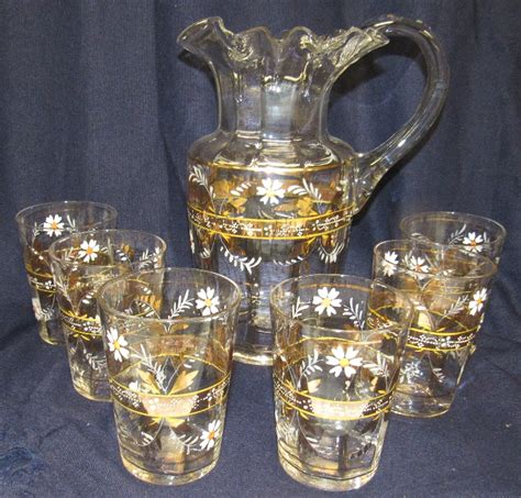 Flower Pitcher Set antique lemonade set pitcher 6 glasses floral enam