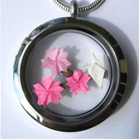 Origami Necklace Locket - origami cherry blossom floating locket necklace