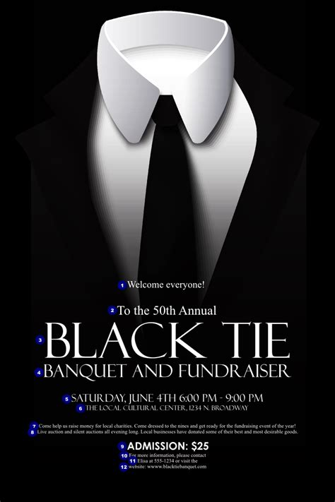 Black Tie Event Flyer black tie poster ticketprinting