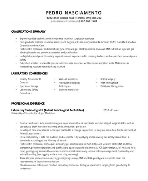 Lab Technician Resume by Lab Technician Resume Template 7 Free Word Pdf