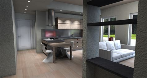 cucina con salotto living val polcevera