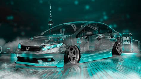 honda civic jdm tuning crystal city night neon fog smoke