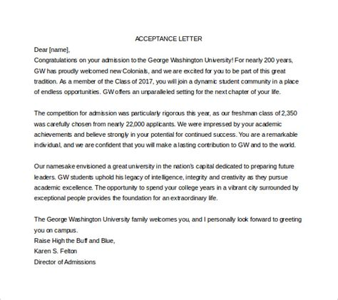 Acceptance Letter Sle For College Acceptance Letter Template 10 Free Word Pdf Documents Free Premium Templates