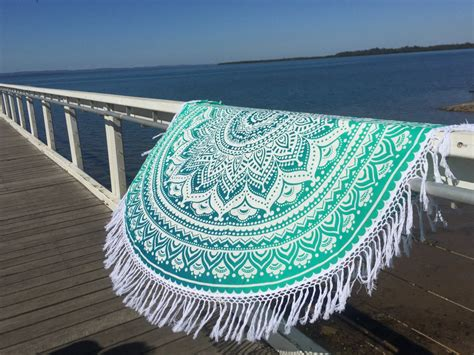 Valance With Curtains White Amp Sea Green Ombre Round Beach Towel Mandala Roundie