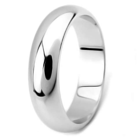 rhodium plated sterling silver dome wedding band ring