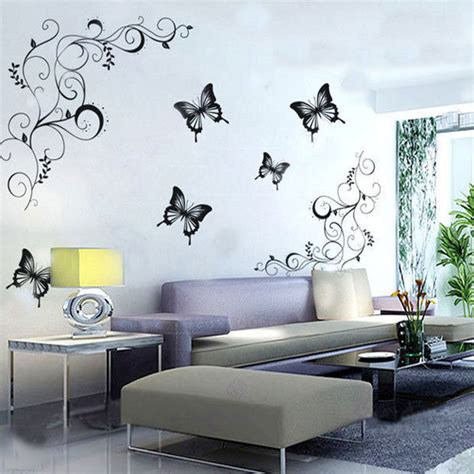 wall art decor floral vines wall sticker by wall art decor hot butterfly vine flower wall decals living room home
