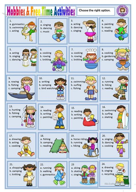 hobbies and free time activities worksheet free esl
