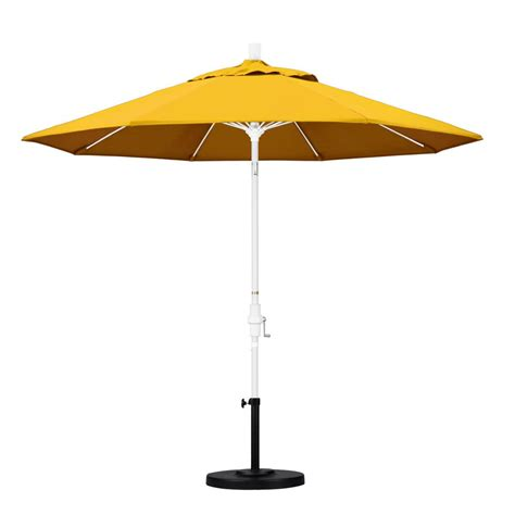 California Umbrella 9 Ft Fiberglass Collar Tilt Patio Yellow Patio Umbrella