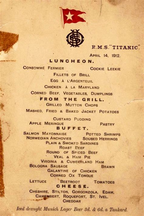 titanic third class menu these are the actual menus from the titanic good