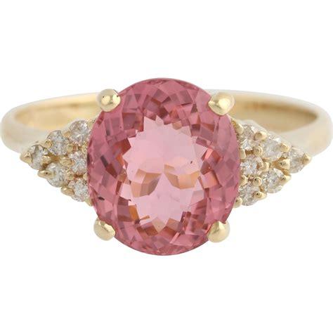 Tourmaline Pink Tourmaline pink tourmaline cocktail ring 14k yellow gold 9