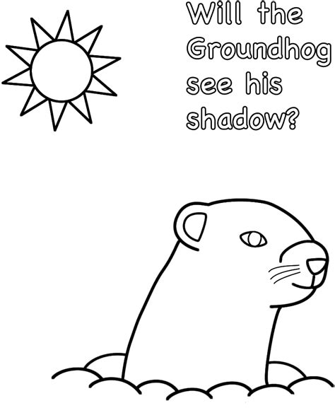 Groundhog Shadow Coloring Page by Free Printable Groundhog Day Coloring Pages