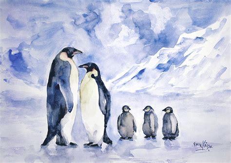 painting penguin penguin family painting by faruk koksal
