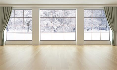 Livingroom Com by Empty Living Room With Snowy Landscape Perque Flooring