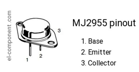 transistor mj2955 mj2955 p n p transistor complementary npn replacement pinout pin configuration substitute