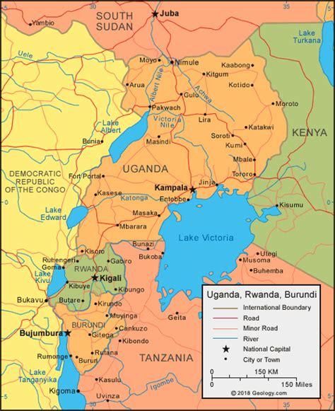rwanda map uganda map and satellite image