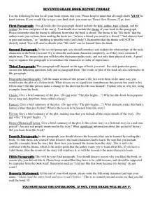 Book Reports For Seventh Graders best photos of 7th grade book report template 7th grade book report outline template 7th