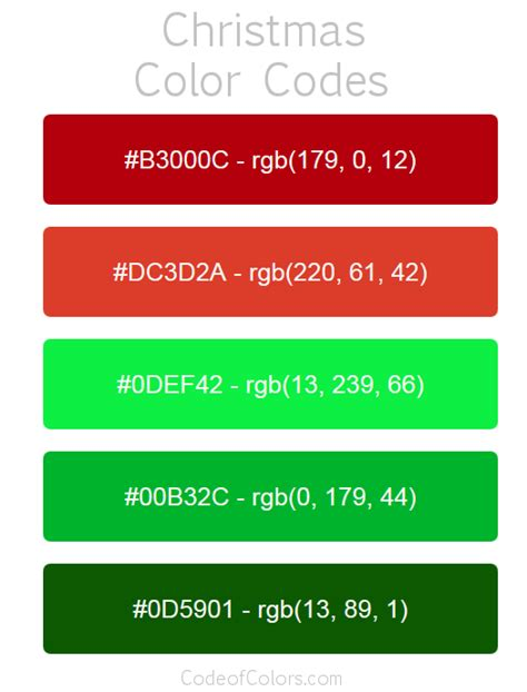 format video rgb christmas color palette hex and rgb color codes