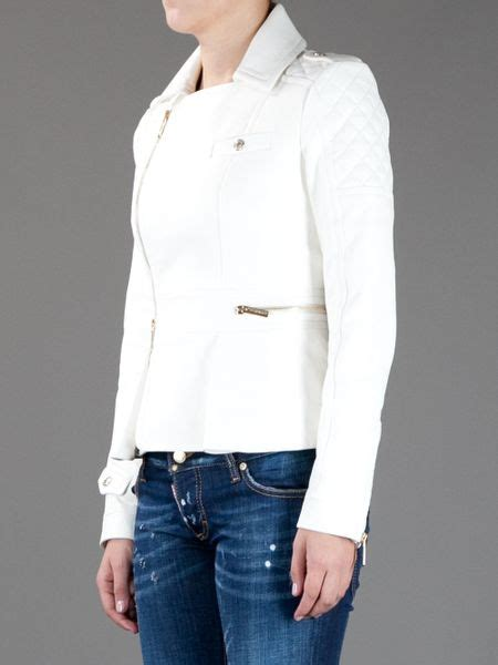 White Quilted Leather Jacket by Dsquared2 Quilted Leather Jacket In White Lyst