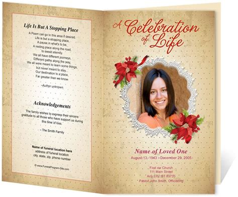 Free Memorial Card Template For Word by Floral Theme Carol Preprinted Title Letter Single Fold