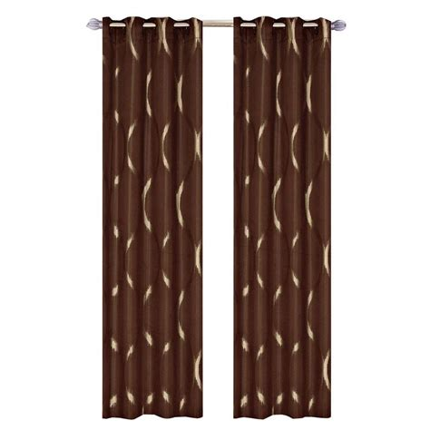 brown panel curtains lavish home brown metallic grommet curtain panel 84 in