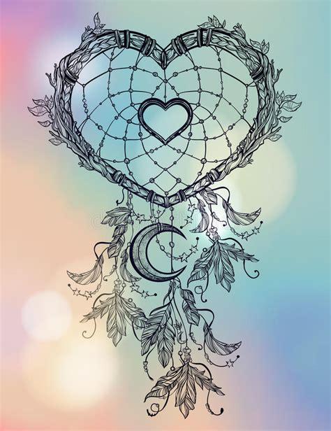 dream catcher tattoo vector heart shaped dream catcher with moon stock vector