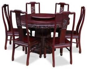 Pedestal Vanities 48 Quot Rosewood Dragon Design Round Dining Table With 6