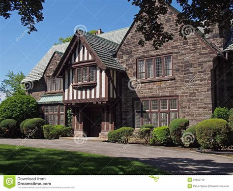 house of style tudor style house stock photo image of gable driveway 31652712