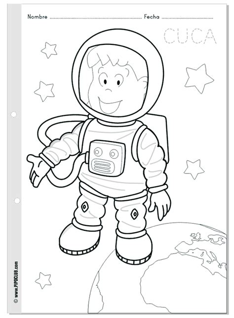 space coloring pages for kindergarten cuca astronauta colorea en el espacio world space week
