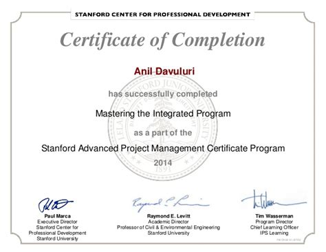 Stanford Post Mba Certificate by Stanford Adv Project Mgmt Certificate Program
