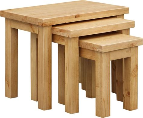 Contemporary Oak Bedroom Furniture - midway pine nest of tables