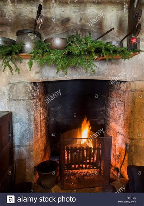 medieval christmas decorations decorations fireplace during tudor event at stock photo royalty free