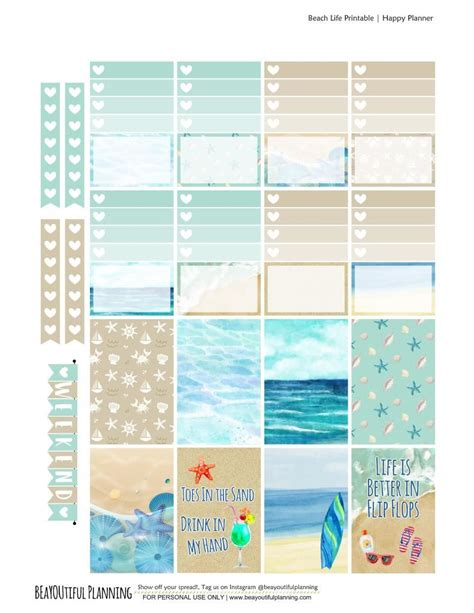 free printable stickers for erin condren life planner free printable beach planner stickers pdf and silhouette