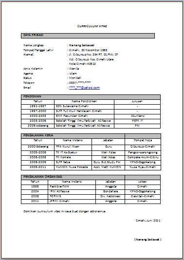 format cv untuk guru contoh daftar riwayat hidup untuk guru contoh 36