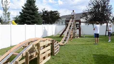 roller coaster for backyard homemade rollercoaster teenage boys build backyard