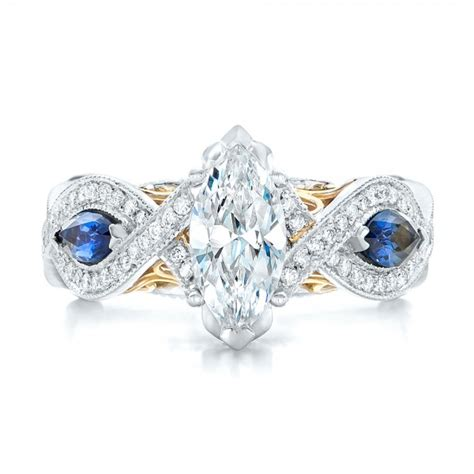 two tone engagement rings two tone and blue sapphire and diamond engagement ring 102111