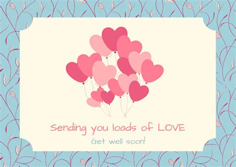 get well cards template pink hearts get well soon card templates by canva
