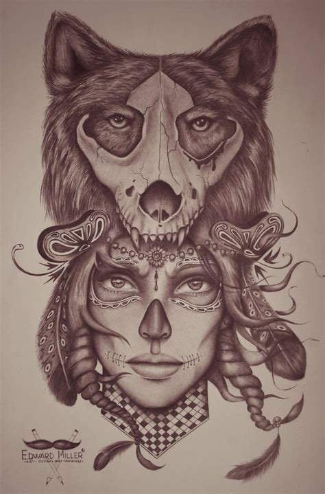 wolf headdress tattoo wolf skull by edwardmiller on deviantart arte
