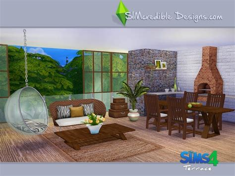 furniture by simcredible custom content terrace dining set by simcredible at tsr 187 sims 4 updates