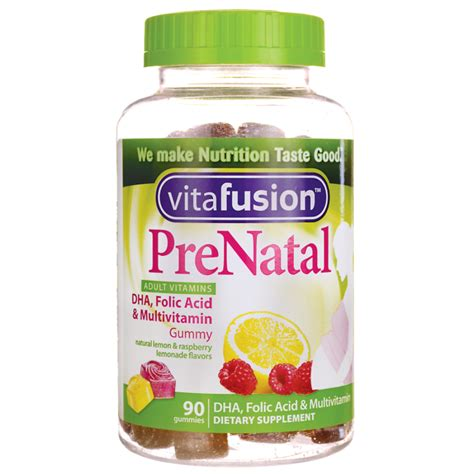 Vitamin Folic Acid vitafusion prenatal dha folic acid gummy vitamins berry lemon cherry 90 gummies swanson