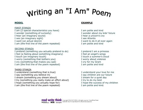 Who Am I Poem Template 8 best images of i am poem printable i am poem template