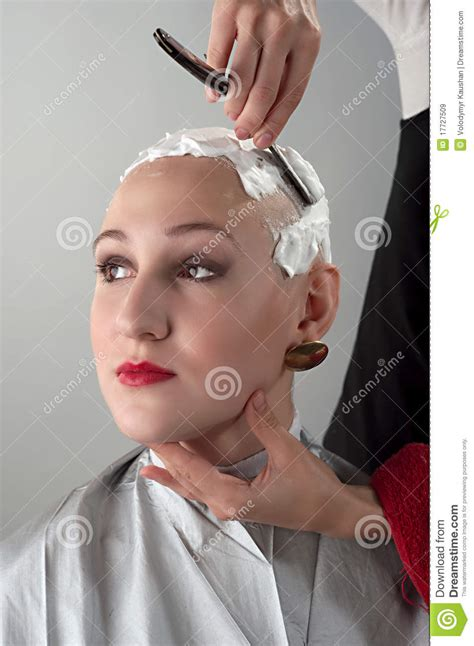 razor head shave girl shaving girl royalty free stock images image 17727509