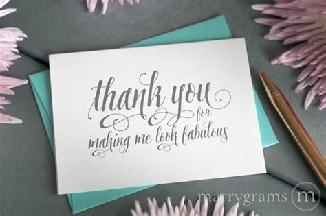 thank you letter after hair stylist wedding card to your stylist hair makeup artist thank