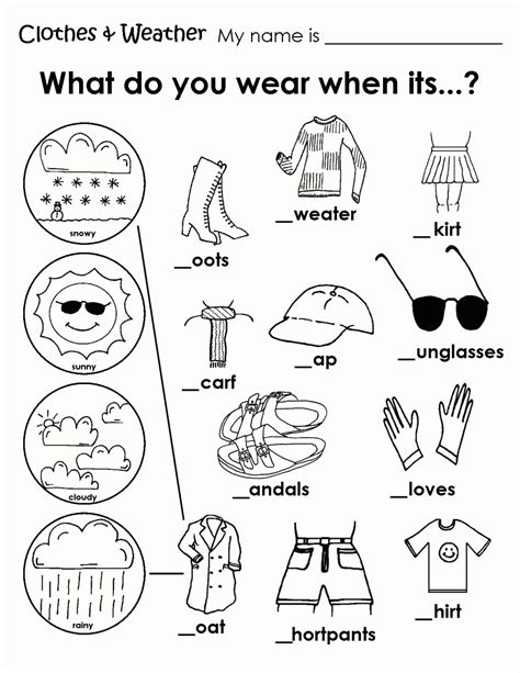 clothes for different seasons worksheet printable weather clothes worksheet teaching pinterest