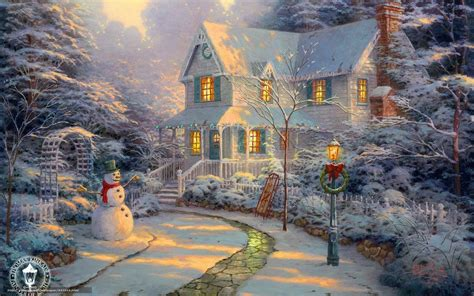thomas kinkade christmas wallpaper 741440