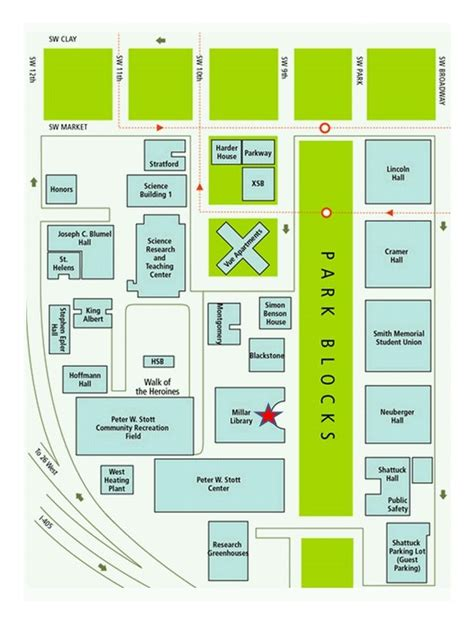 portland state map maps directions portland state library