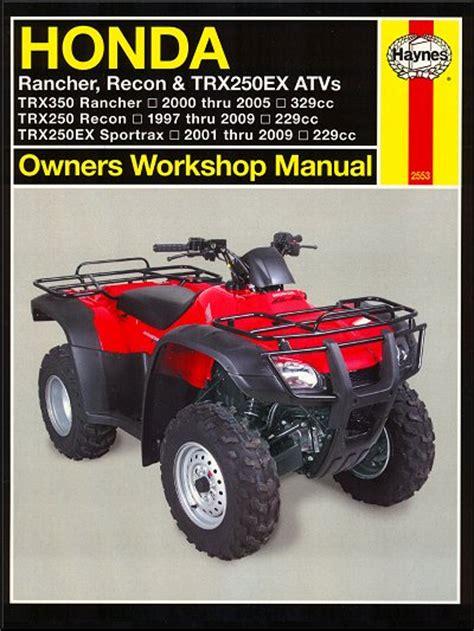 Honda Trx350 Rancher Trx250 Recon Sportrax Repair Manual