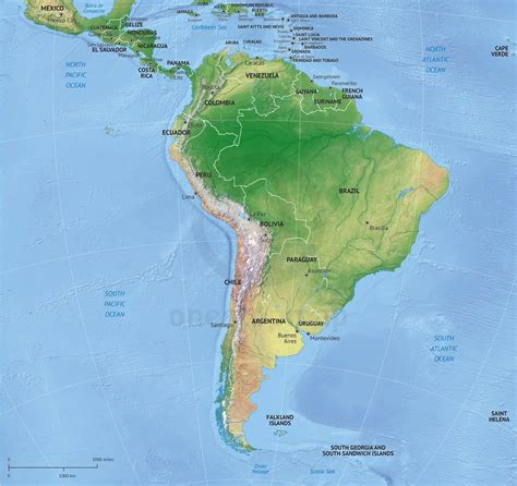 america continent map vector map south america continent relief one stop map