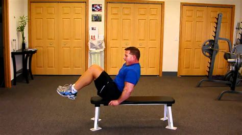 bench knee in on bench knee curl up for six pack abs toned stomach