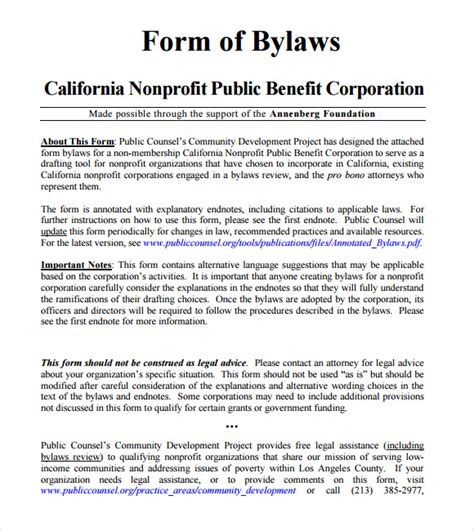 Sle Bylaws Template 8 Free Documents In Pdf Bylaws Template