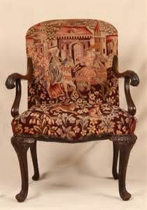 Antique Chair Upholstery by Late 19th Century Georgian Revival Tapestry Upholstered